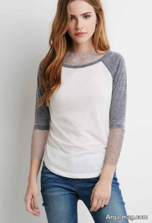 مدل تیشرت سفید و خاکستری دخترانه