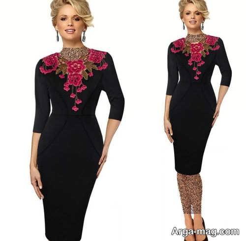مدل لباس مجلسی کوتاه گلدار