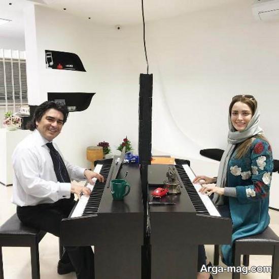 behnoush tabatabai 1 - بهنوش طباطبایی به کلاس پیانو می رود