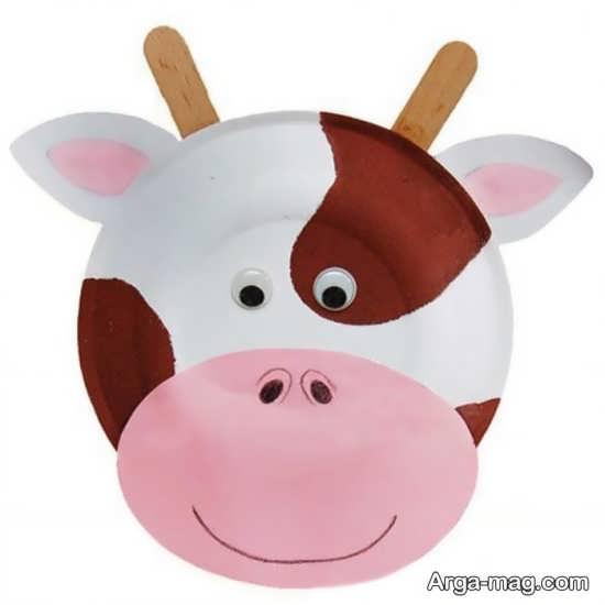 کاردستی زیبای گاو با بشقاب