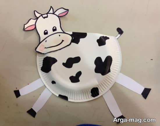 ساخت گاو با بشقاب پلاستیکی