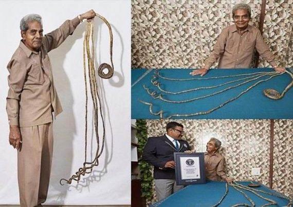 مرد هندی پس از 66 سال ناخن هایش را کوتاه کرد + عکس
