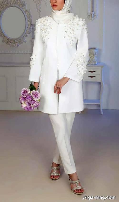 مدل مانتو شلوار مجلسی سفید