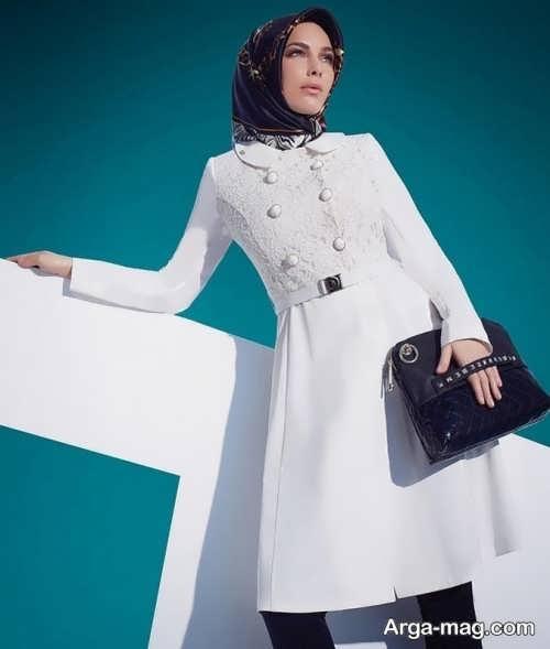 مدل مانتوی سفید برای عقد محضری