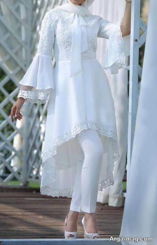 مدل مانتو و شلوار سفید برای عقد