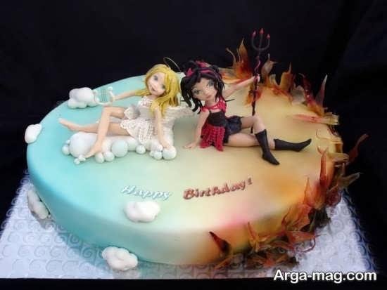 کیک تولد با تم فرشته