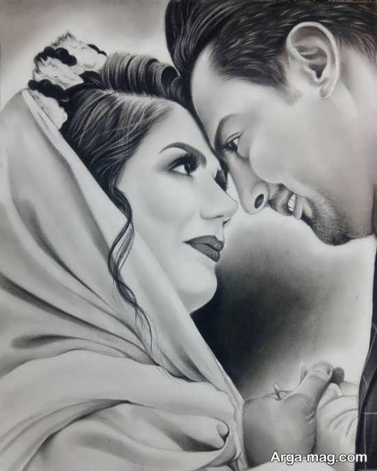 نقاشی های عاشقانه با سیاه قلم