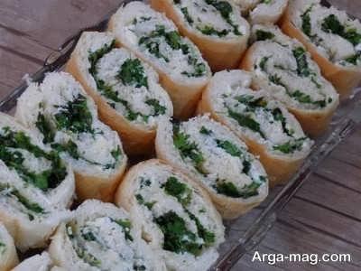 تزیین رول نان و پنیر