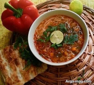 تزیین زیبا سوپ رشته فرنگی