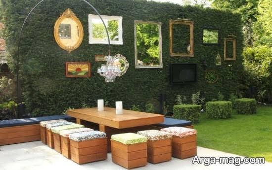 تزیین زیبای دیوار حیاط