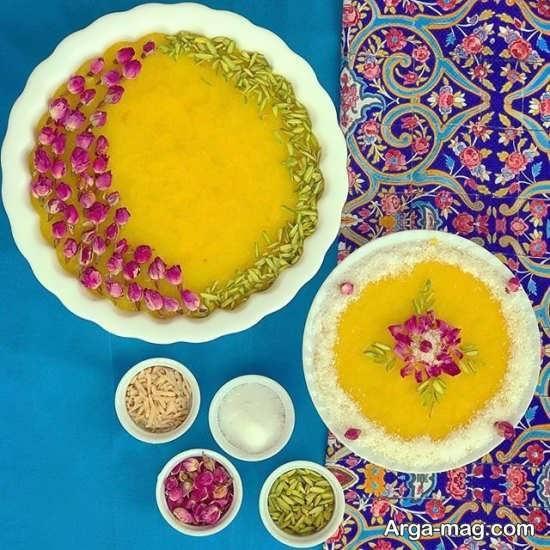 تزیین کردن شله زرد با گل محمدی