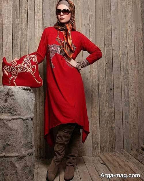 مدل مانتو قرمز و تابستانی