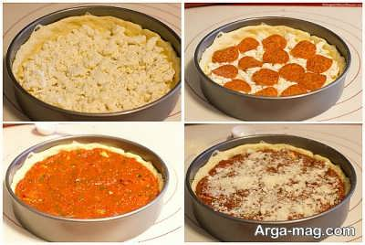 مراحل تهیه پیتزا شیکاگو