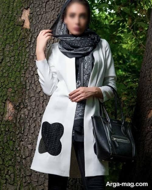 مدل مانتو سفید و مشکی دخترانه