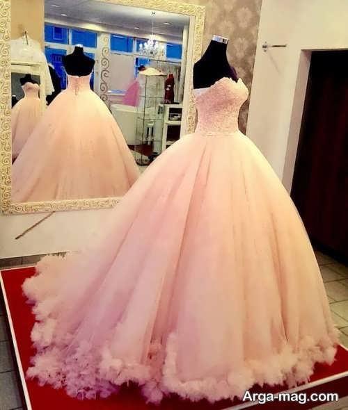 مدل لباس عروس گلبهی شیک و جذاب
