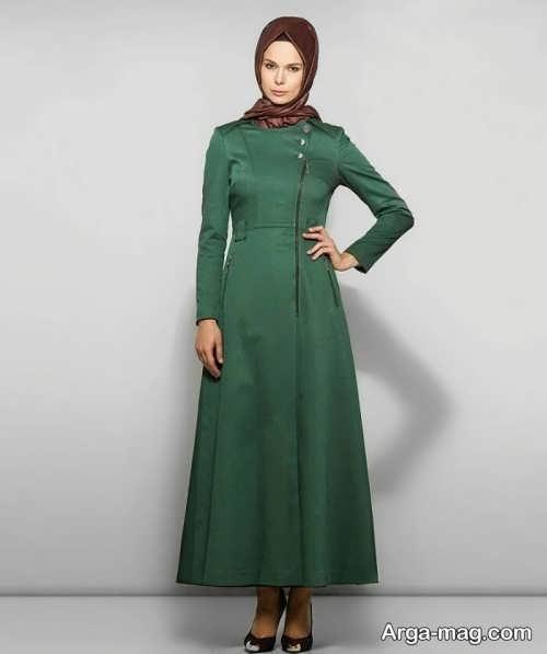 مدل مانتو سبز بلند