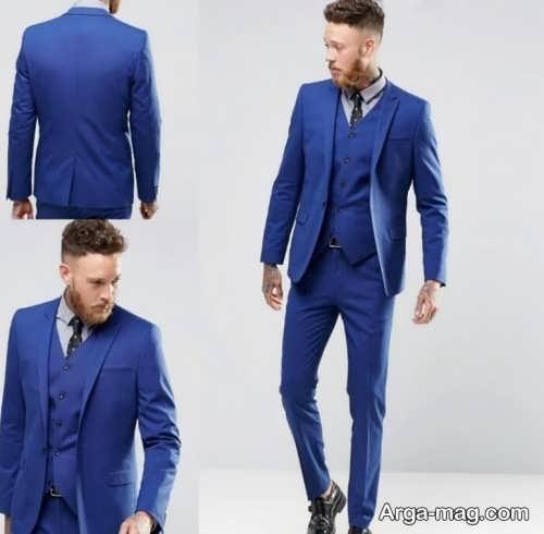 مدل کت و شلوار مردانه آبی تیره