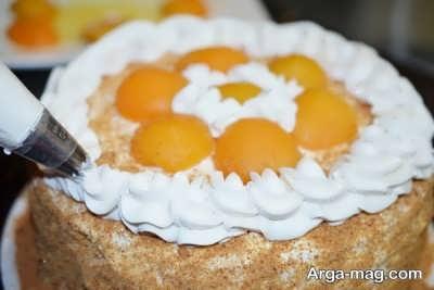 تزیین کیک با زردآلو
