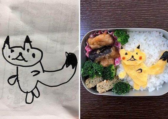 تزیین غذا توسط یک مرد ژاپنی از روی نقاشی های دخنرش