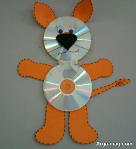 آموزش کاردستی موش نارنجی رنگ با دو عدد سی دی