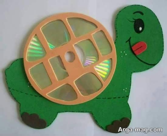 ساخت کاردستی جالب لاک پشت با سی دی