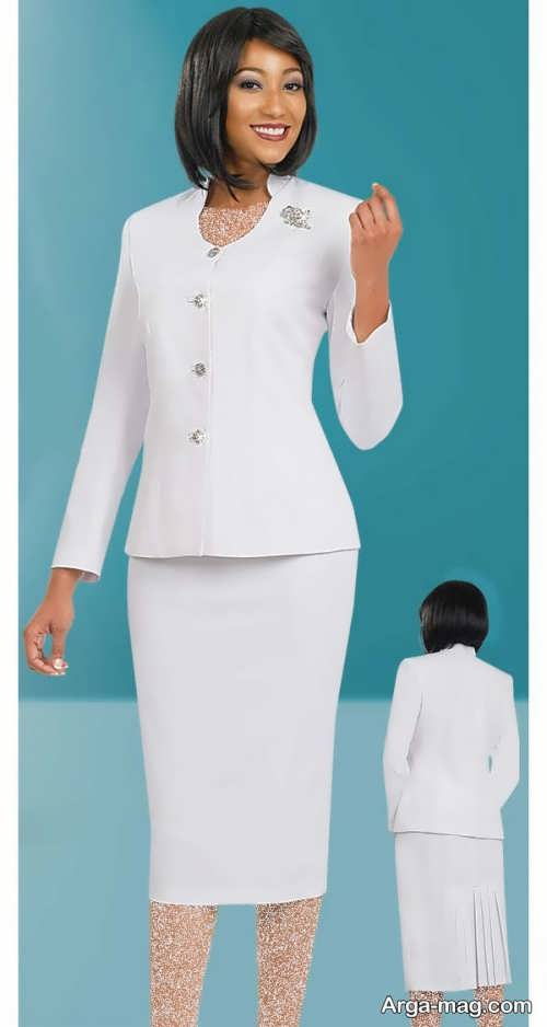 مدل کت و دامن سفید زنانه