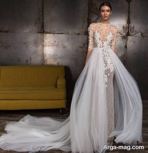 مدل لباس عروس دنباله دار و فانتزی