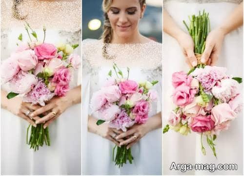 ژست خاص عروس با دسته گل