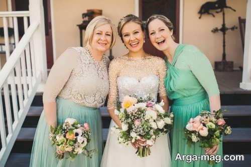 ژست عکس عروس با دسته گل و ساقدوش ها