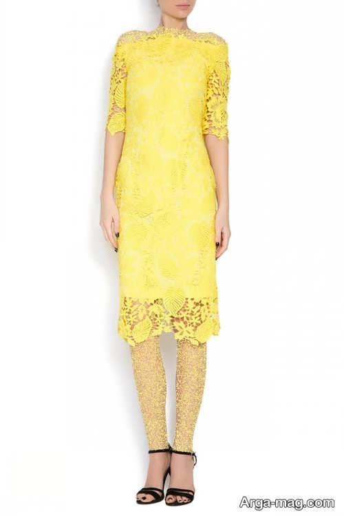 مدل لباس مجلسی زرد گیپور