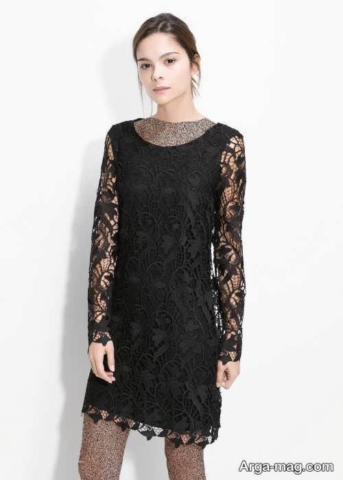 مدل لباس دخترانه گیپور مشکی