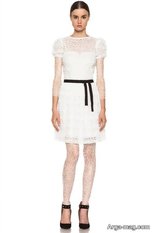 لباس مجلسی سفید و گیپور