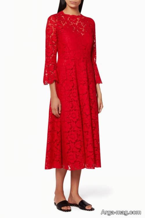 مدل لباس مجلسی قرمز و آستین دار