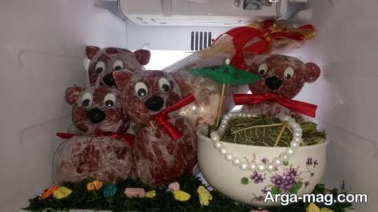 تزیین بسته های گوشت برای یخچال عروس