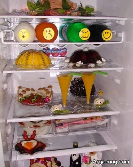 تزیین یخچال عروس با دسر و نوشیدنی