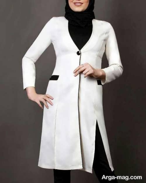 مدل مانتوی سفید و زیبا برای افراد لاغر