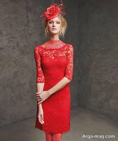 مدل لباس مجلسی قرمز و گیپور