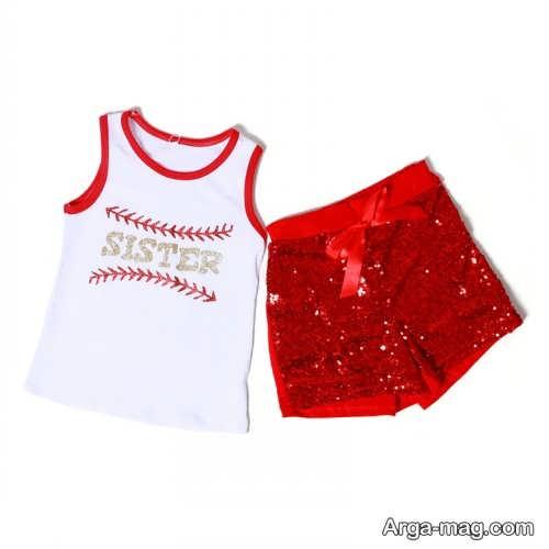 لباس اسپرت سفید و قرمز بچه گانه
