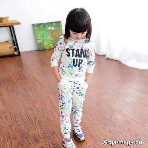 مدل لباس اسپرت دختر بچه طرح دار
