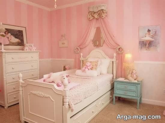 اتاق دخترانه زیبا با تم صورتی