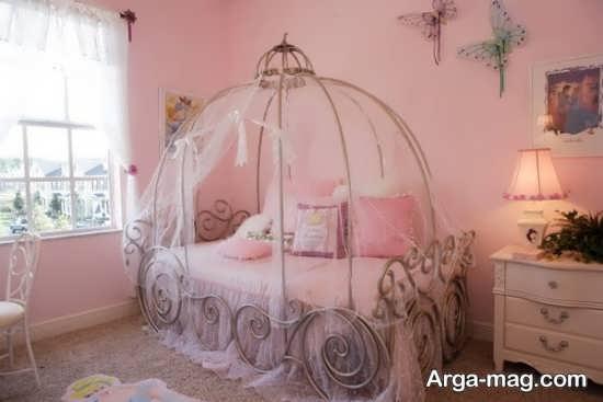 اتاق دخترانه با تم صورتی زیبا