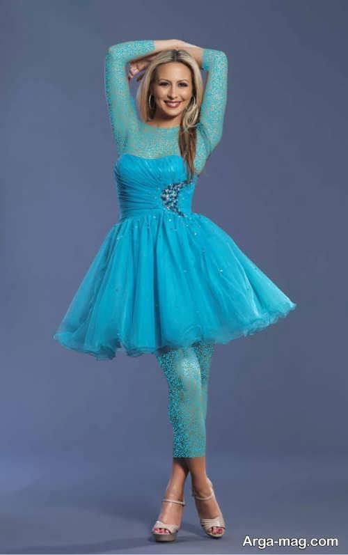 مدل لباس مجلسی آبی پف دار