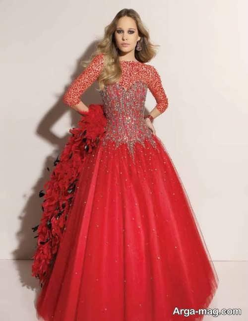 مدل لباس مجلسی قرمز و پف دار