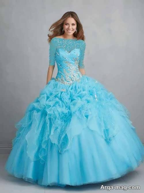 مدل لباس مجلسی آبی و پف دار