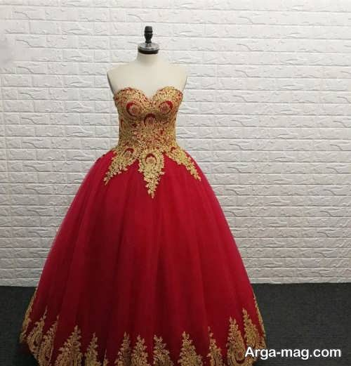 مدل لباس مجلسی پف دار کار شده