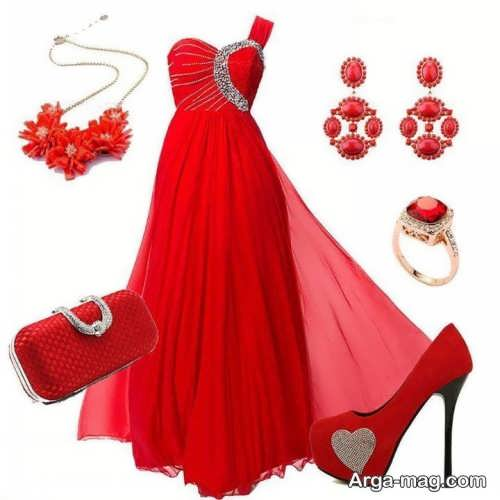 ست لباس مجلسی قرمز