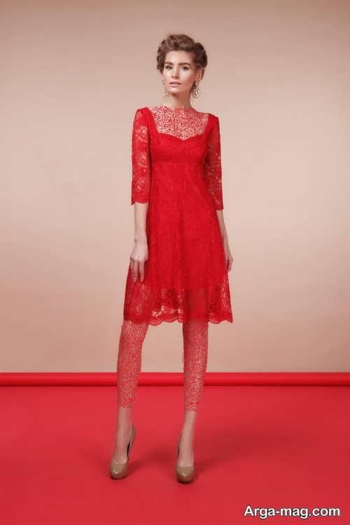 مدل لباس گیپور قرمز