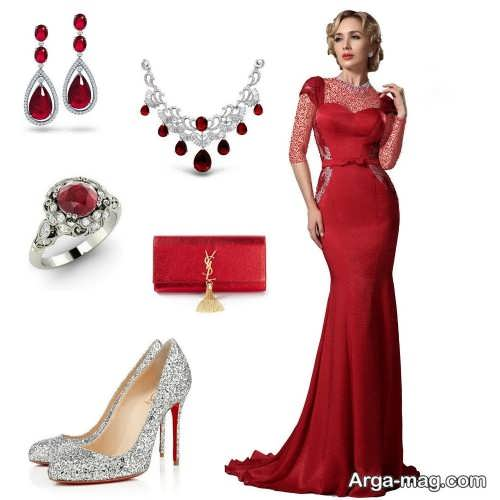 مدل ست لباس مجلسی قرمز