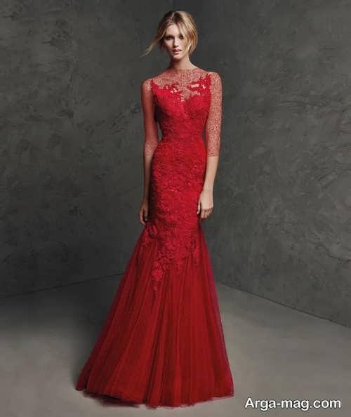 مدل لباس مجلسی قرمز بلند