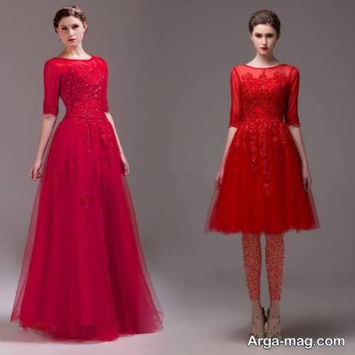 لباس مجلسی کوتاه و بلند قرمز